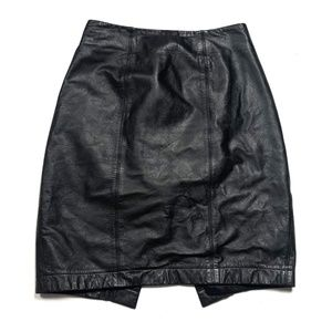 6 Small Vintage 90s 80s Leather Skirt Pencil Black